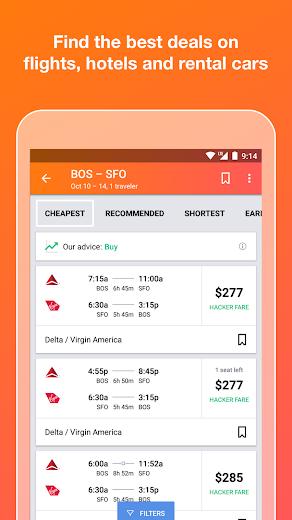 Screenshot 0 for Kayak's Android app'