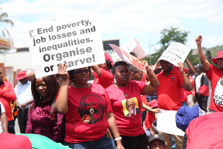 Cosatu demonstrators mass outside the office of the KZN premier on Thursday, November 22. This was the end point of a march aimed at combating the government's 'neo-liberal tendencies' that were 'causing job losses' among SOEs and in the mining sector.