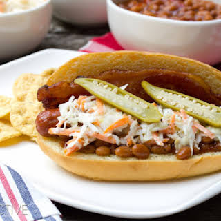 """""""Southern Comfort"""" Bacon Hot Dog Recipe with Southern Slaw."""