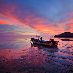 waiting by Izham Khalid - Transportation Boats ( reflection, sky, sunset, sampan, low tide, seaside )