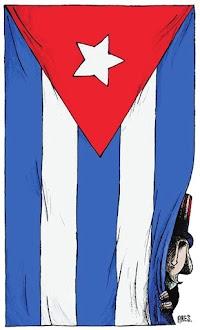 Karikatur: Wer versteckt sich da hinter der Cuba-Fahne?