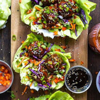 Sticky Sriracha Meatball Lettuce Wraps Recipe