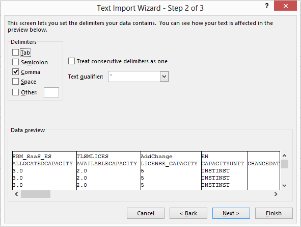 Excel text import wizard, step two.