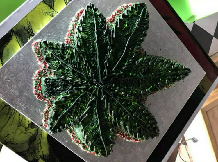 A dagga cake that was served at a birthday party at Randburg's 420 Café in December 2018