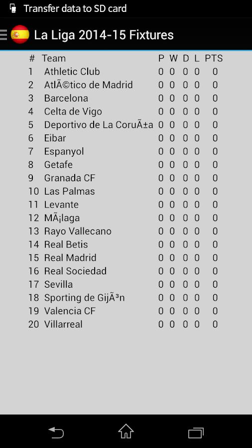 La liga 2016 17 fixtures android apps on google play - Spain league table and fixtures ...