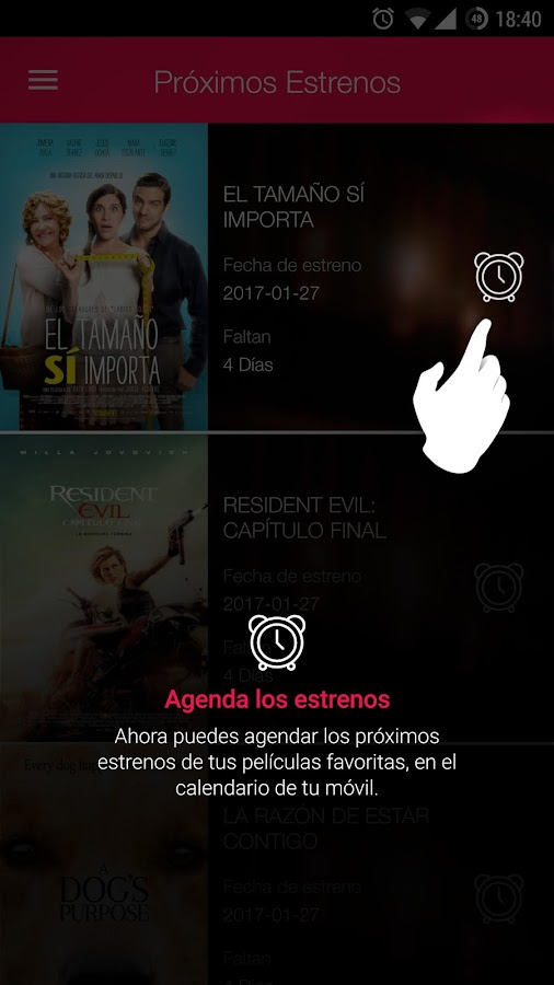Cinemex: captura de pantalla