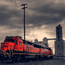 Red Steel by Rob Baker - Transportation Trains ( red, railyard, texas, train, colorized,  )