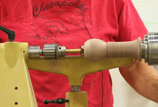 Photo: So here goes the big Forstner bit, held in the Jacobs chuck.  It only goes in for a limited distance...