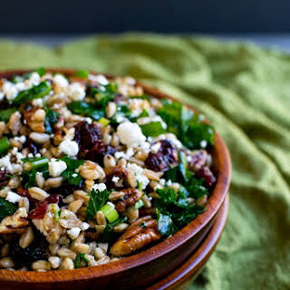 Festive Fall Farro Salad with Kale, Cranberries, Pecans & Goat Cheese.