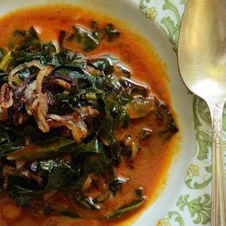 Curried Thai Collards with Crispy Shallots