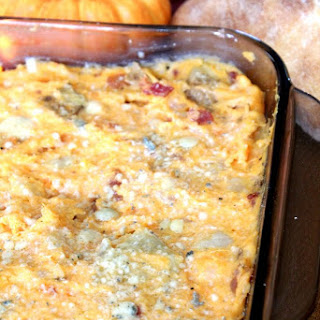 Sweet Potato Casserole with Bacon and Blue Cheese.