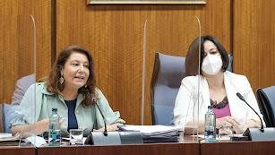Carmen Crespo durante la comparecencia.
