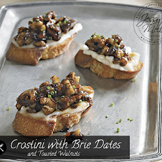 Crostini with Brie Dates and Toasted Walnuts