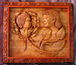 Photo: Está talla es toda de una pieza. La parte del motivo principal está tratada sólo con aceite de linaza y la parte del marco se ve distinta porque ha sido teñida. Tamaño: 84 x 97 cm. || Talla en madera. Woodcarving.   Puedes conocer más de este artista en el blog: http://tallaenmadera-woodcarving-esculturas.blogspot.com/