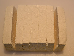 Photo: The tofu is then cut into slabs before marinating.