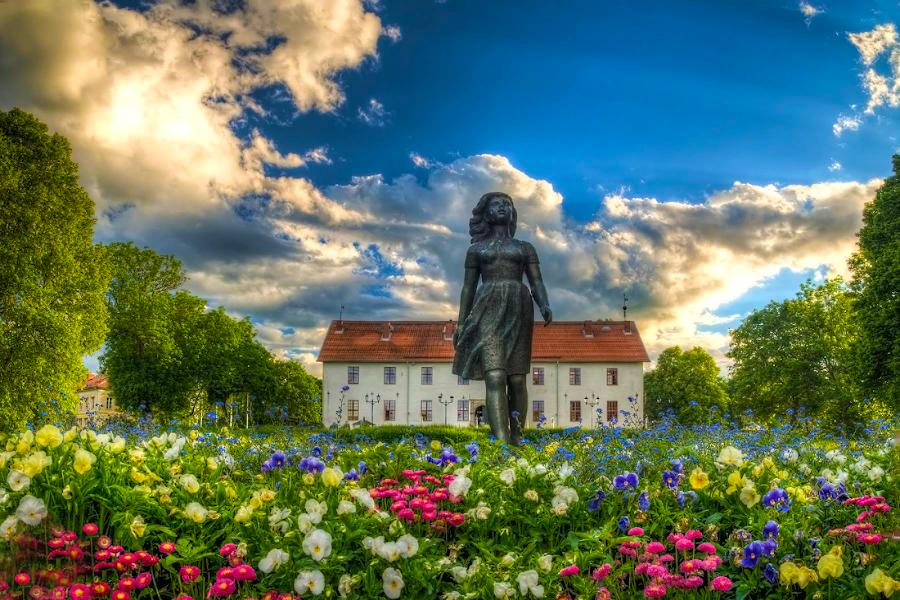 Summer Girl by Manu Heiskanen - Uncategorized All Uncategorized ( clouds, statue, sky, girl, summer, flowers, flower )