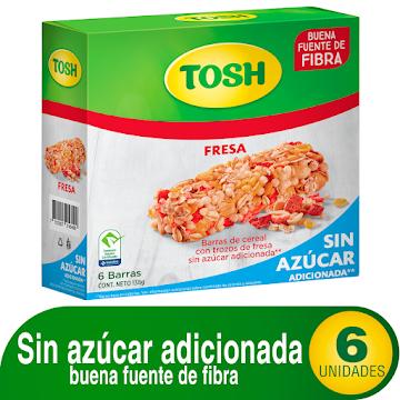 Barra de Cereal Tosh con   Trozos de Fresa Sin Azúcar Caja x 6Uni