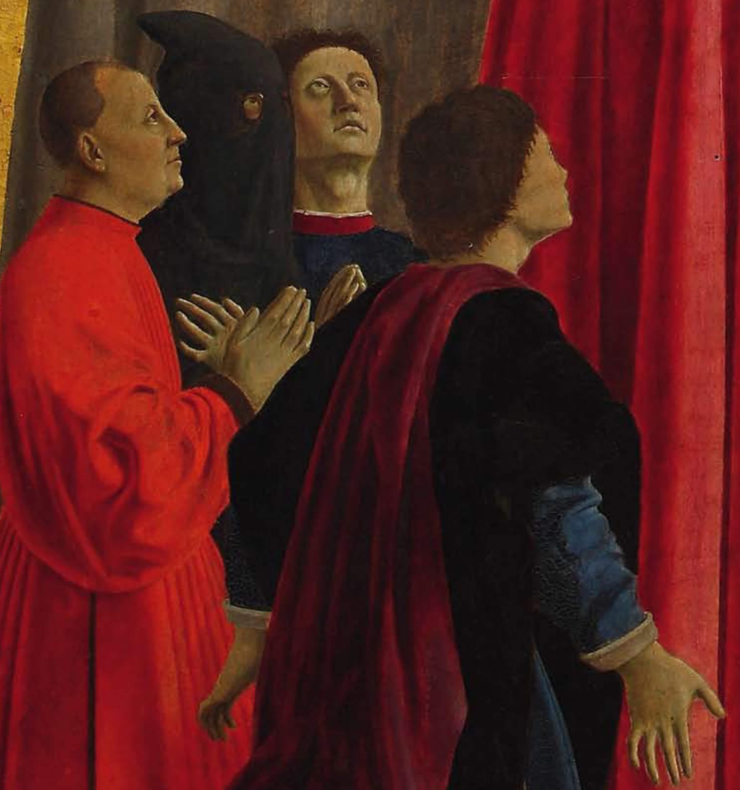 Piero della Francesca,LaMadonna della Misericordia1444-1465, (particolare, Gli oranti, con l'autoritratto di Piero voltato verso lo spettatore, al centro), Museo Civico, Sansepolcro