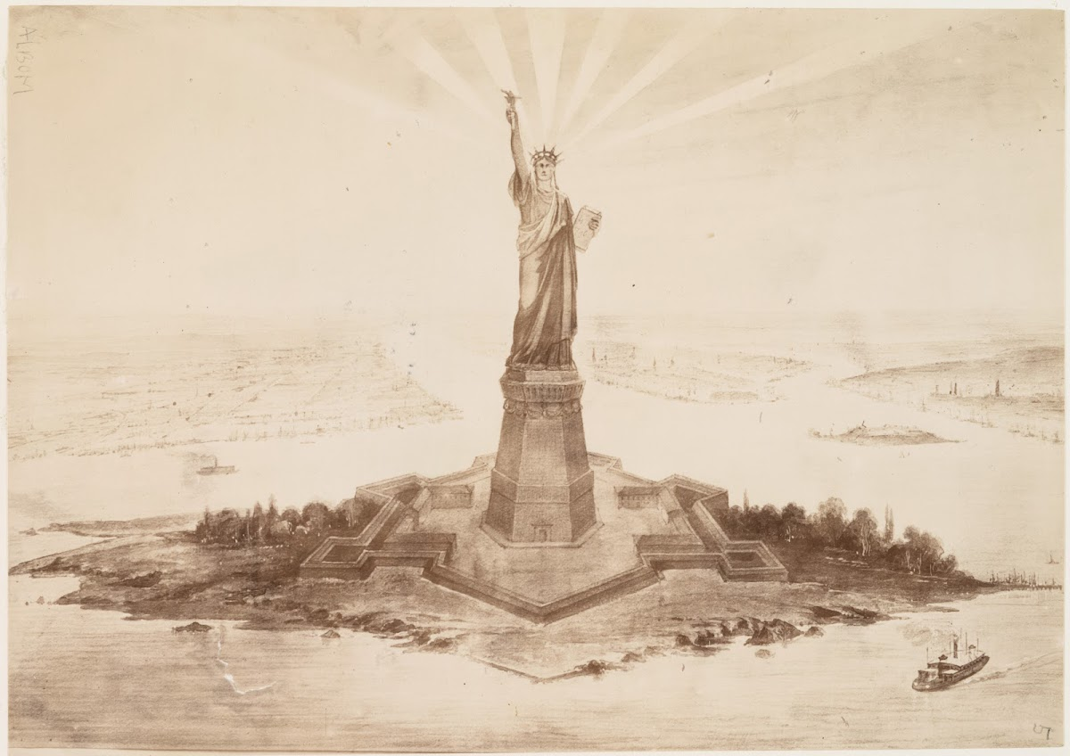 Albert Fernique, Photograph of a drawing of the Statue of Liberty in Upper New York Bay, 1883