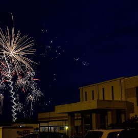 Fireworks at Crossroads  by Teresa Solesbee - Public Holidays July 4th ( church, independence day, july 4, fireworks, night shot,  )