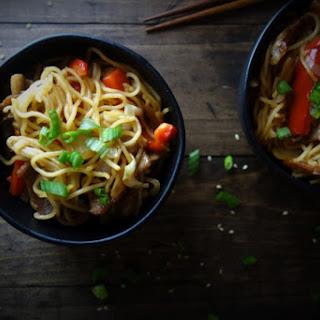Crispy Pork Belly Yakisoba Noodles.