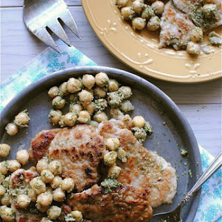 Pork Scallopini with Dill Pesto and Chickpeas.