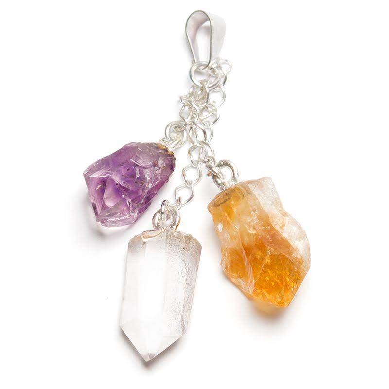 Ametist, bergkristall, citrin i silverpläterat hänge
