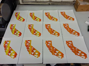 Photo: More CA Poppies Split Fountain Screenprints on Rives BFK 100% Cotton paper. Nice prints!