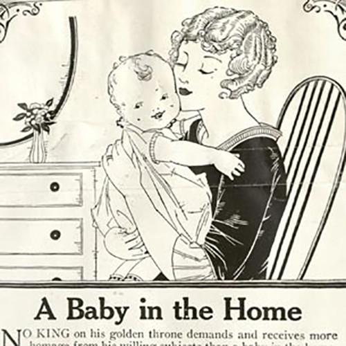 Bức hình quảng cáo với dòng tiêu đề (A baby in the Home) kèm với hình ảnh trên bao bì sản phẩm (1926).