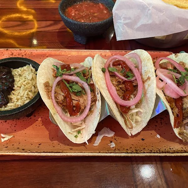 Cochinita tacos with corn tortillas. GF and DF