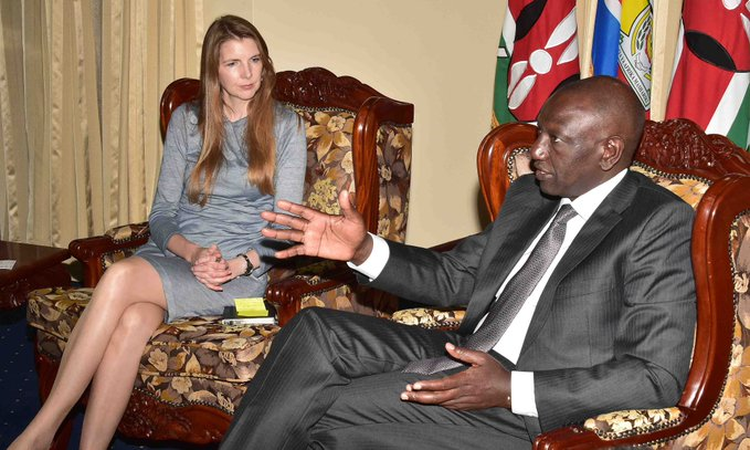 Deputy President William Ruto chats with British High Commissioner to Kenya Jane Marriot at his Karen home