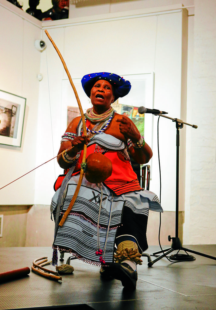 Subtle sound: Traditional musician Madosini plays the uhadi at an event at the Wits Art Gallery . Picture: SUPPLIED
