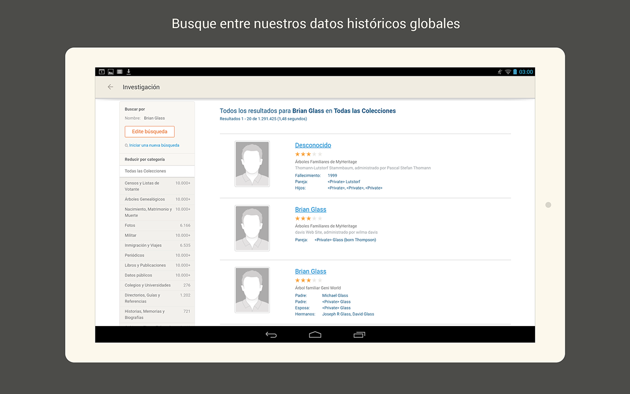 MyHeritage: captura de pantalla