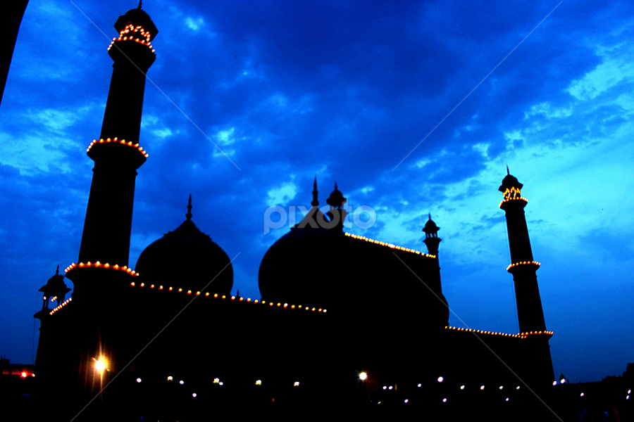 Jama Masjid at BlueHour  by Shaikh Mohammed Meraj - Buildings & Architecture Places of Worship ( jama masjid at bluehour, blue hour, jama masjid )