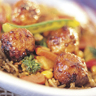 Sweet and Spicy Meatball Stir-Fry with Asian Rice Recipe