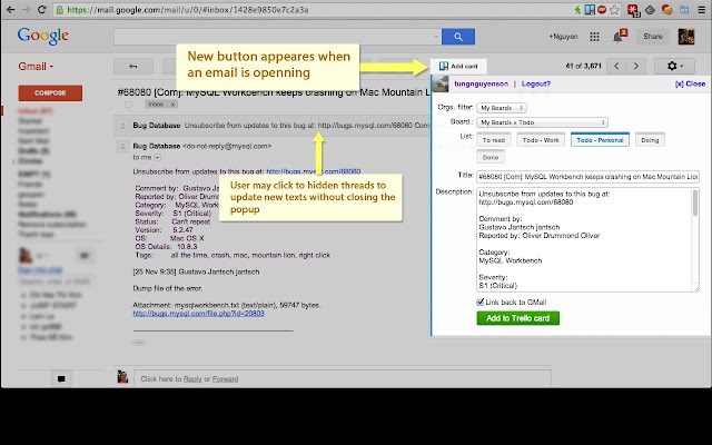GMail to Trello Screenshot