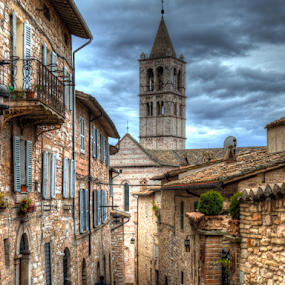 Cassock by Darin Williams - City,  Street & Park  Neighborhoods ( clouds, umbria, walls, sky, spire, steeple, clergy, cassock, italy, assisi, robe )