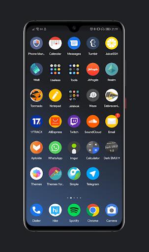 Screenshot for Dark Pie EMUI 9 Theme for Huawei/Honor in Hong Kong Play Store