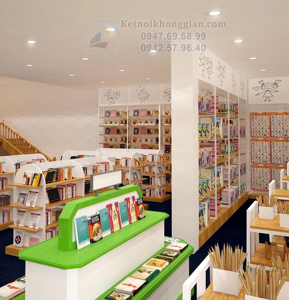 thiết kế nhà sách dùng nội thất đa dạng
