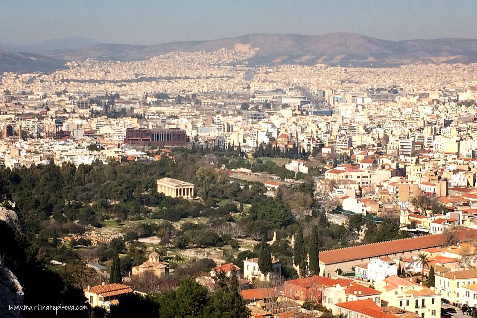 Agora in Athens, Greece with the Temple of Hephaestos (centre) and Stoa of Attalos (bottom right)