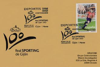 Photo: Matasellos de Primer Día de Circulación del sello del Centenario del Sporting 2005