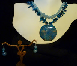 Photo: <BEREHYNYA> {Great Goddess Protectress} unique one-of-a-kind statement jewellery by Luba Bilash ART & ADORNMENT  NEBULA - НЕБУЛА - copper enamel pendant, quartzite, bamboo coral (dyed), sterling silver $150/set SOLD/ПРОДАНИЙ