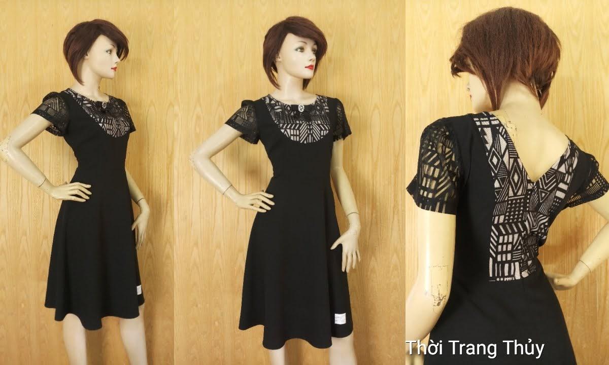 Váy xòe phối ren mặc công sở và dạo phố V629 thời trang thủy