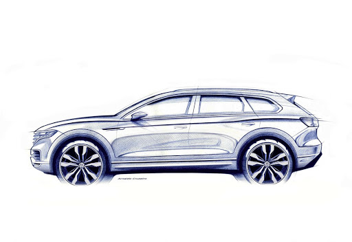 Volkswagen has revealed this teaser sketch of the new Touareg ahead of its reveal next month. Picture: VOLKSWAGEN