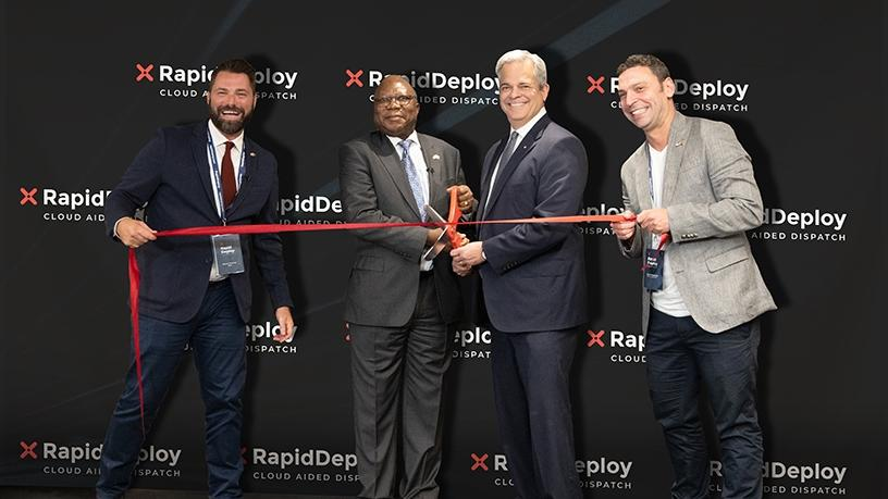 From left to right: Steven Raucher, RapidDeploy co-founder and CEO; Mninwa Johannes Mahlangu, South African ambassador to the US; Steve Adler, mayor of Austin, Texas; and Brett Meyerowitz, RapidDeploy co-founder and CTO.