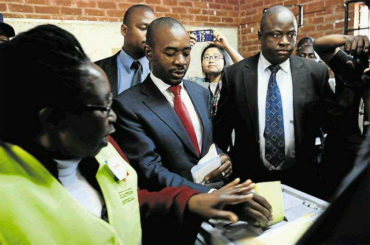 Nelson Chamisa, the leader of the MDC Alliance, casts his ballot at a polling station in Harare on Monday. Zimbabweans are going to the polls to vote for a new president after Robert Mugabe, who led the country for 37 years, was deposed in November 2017.