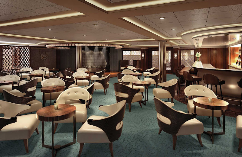 Located on deck 5 mid-ship, the elegant Meridian Lounge on Seven Seas Explorer is an ideal location to gather for a cocktail and listen to virtuoso performances by resident musicians.