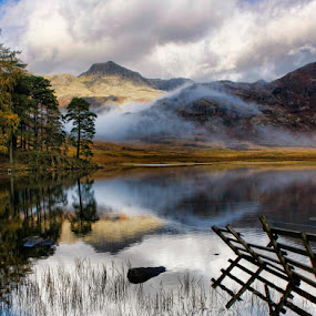Misty Reflections by Steve BB - Landscapes Mountains & Hills ( hills, lower langdales, red, cumbria, autumn, green, blea tarn, lakes, lake district, mist )