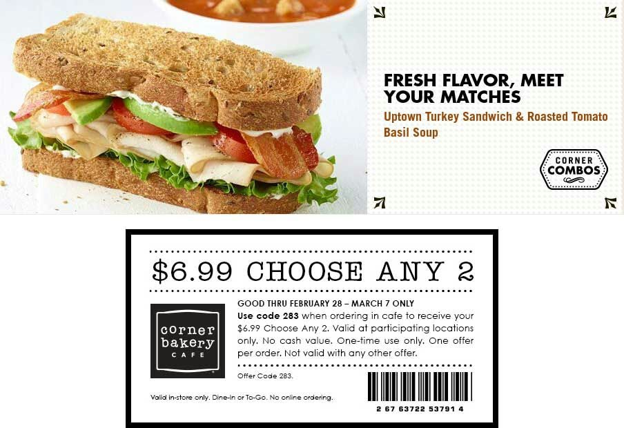 7 verified Corner Bakery Cafe coupons and promo codes as of Dec 2. Popular now: Sign Up for Corner Bakery Cafe Emails and Receive Latest News and Updates. Trust pav-testcode.tk for Food savings%(43).