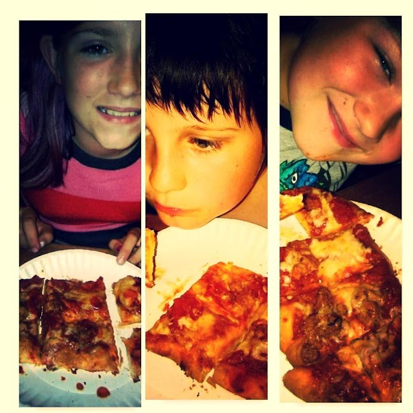 Evie smiling, Ashton concentrating, Paxton very happy... They loved this recipe!
